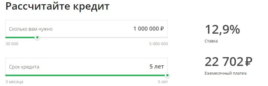 Кредит в Сбербанке на 1 млн рублей