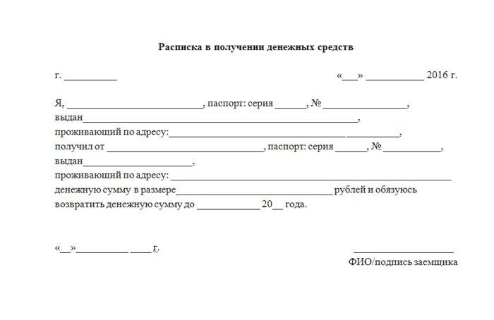 Составление расписки