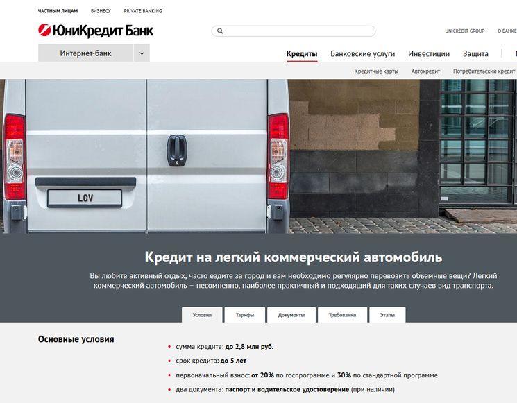 Автокредит предпринимателю в Юникредитбанк